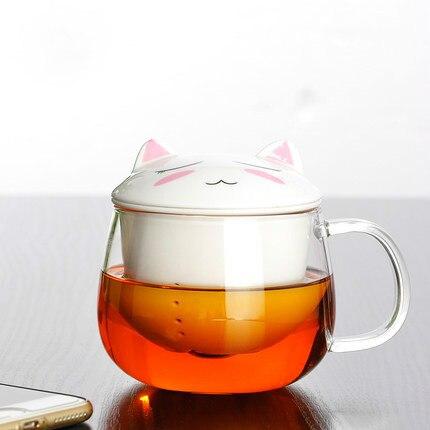300ml Creative cute ceramics cartoon mug porcelain cups glass teapot with infuser tea pot double wall