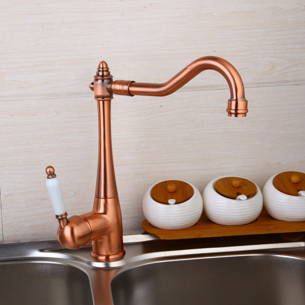 Kitchen Faucet 360 Swivel Retro Mixer Tap fashion Antique faucet copper hot and cold basin tap