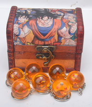 7 PC Dragon Ball Z Keychain DBZ Cosplay Dragonball Z 1-7 Stars Crystal Ball Keyrings PVC Pendant in wooden box cosplay accessory(China)