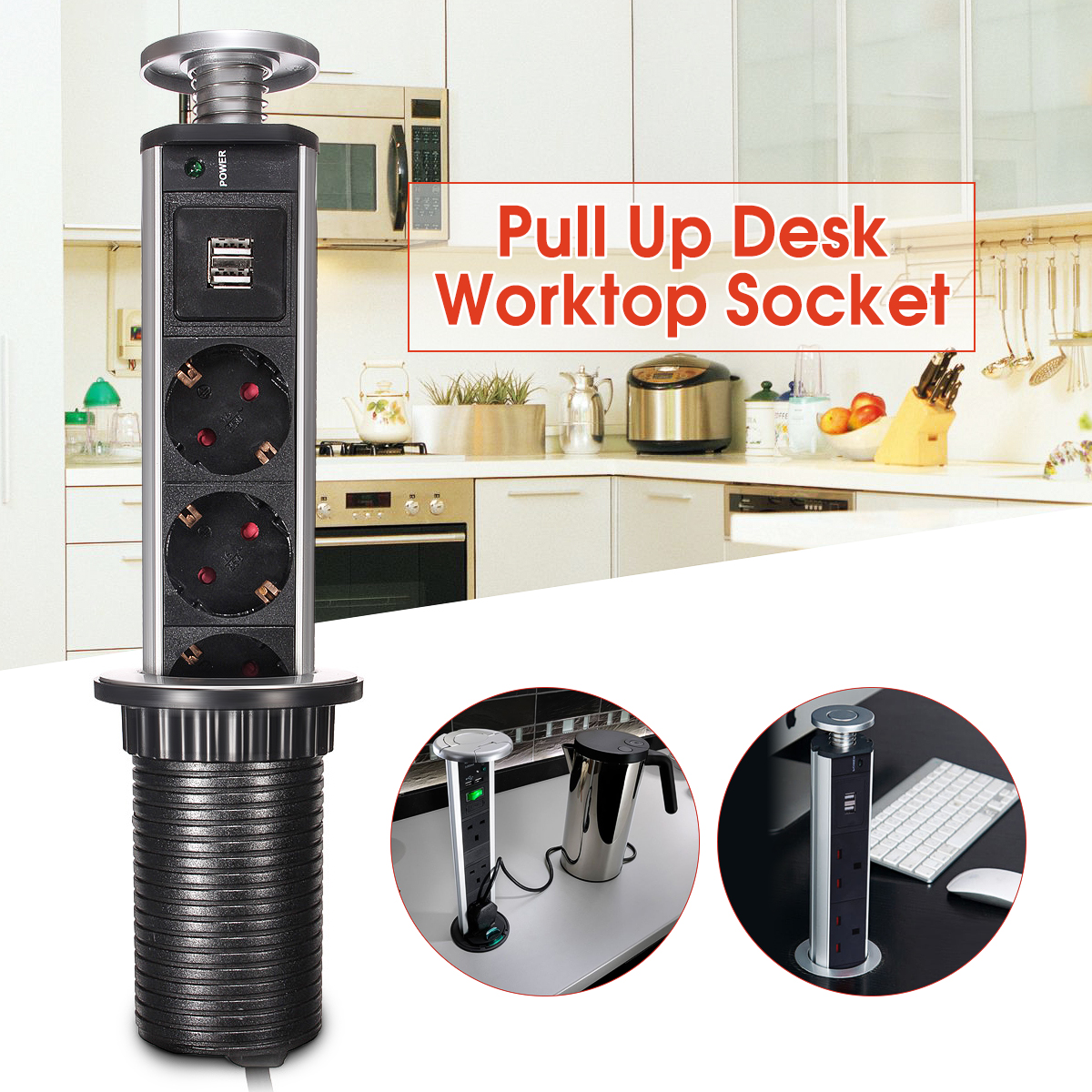 Pop Pull Up Power Point Socket 2 USB Charger Electrical Sockets for Home Office Kitchen Worktop Desk Socket