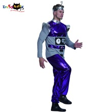 Men Robot Alien Artificial Intelligence Costume Carnival Party Purple Adult Male Cosplay Outfits Clothing Halloween Costumes