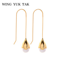 wing yuk tak Trendy Gold Color Copper Hoop Earrings 2019 For Women Simulated Pearl Earring Boho Korean Jewelry