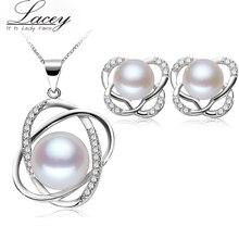 Перл ювелирные наборы, продажи стерлингового серебра 925 пресной воды жемчужина комплект ювелирных изделий для женщин 3 цвет подарок