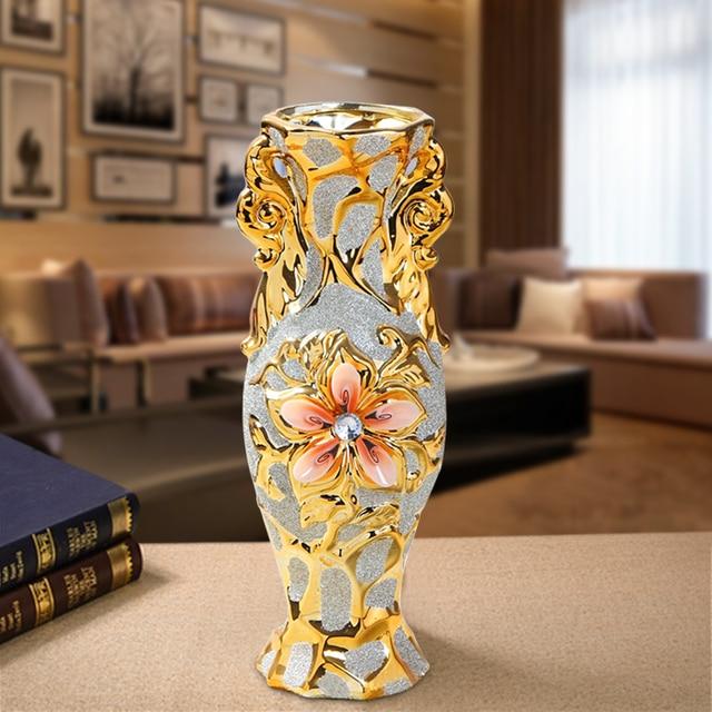 Europe Gold Plated Frost Porcelain Vase Vintage Advanced Ceramic Flower Vase for Room Study Hallway Home Wedding Decoration 6