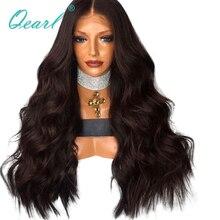"""Qearl pelucas de encaje frontal de 440 gramos, Color marrón oscuro, 22 """", 24"""" y 26 """", cabello Remy brasileño súper grueso de alta densidad, peluca de encaje ondulado 13x4"""