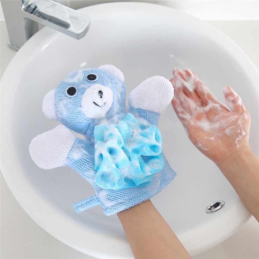 2018 Supply soft and comfy Compound Cotton Body Bath Rub Gloves Shower Wash Puff Mesh Net Ball Bathroom Daily Cleaning #0527