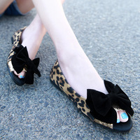 2018 Summer FunFashion Trend Bow Tie Flat Bottom Sandals Fish Mouth, Women's Flat Shoes, Big Code Leopard Print.6.15