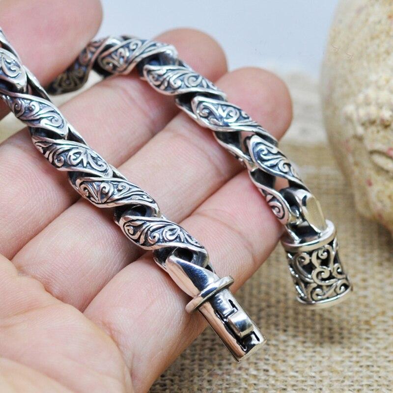 Bracelet en argent Sterling pour hommes Vintage rétro motif de fleurs gravées 925 chaînes en argent pour hommes Cool exagéré bijoux fins
