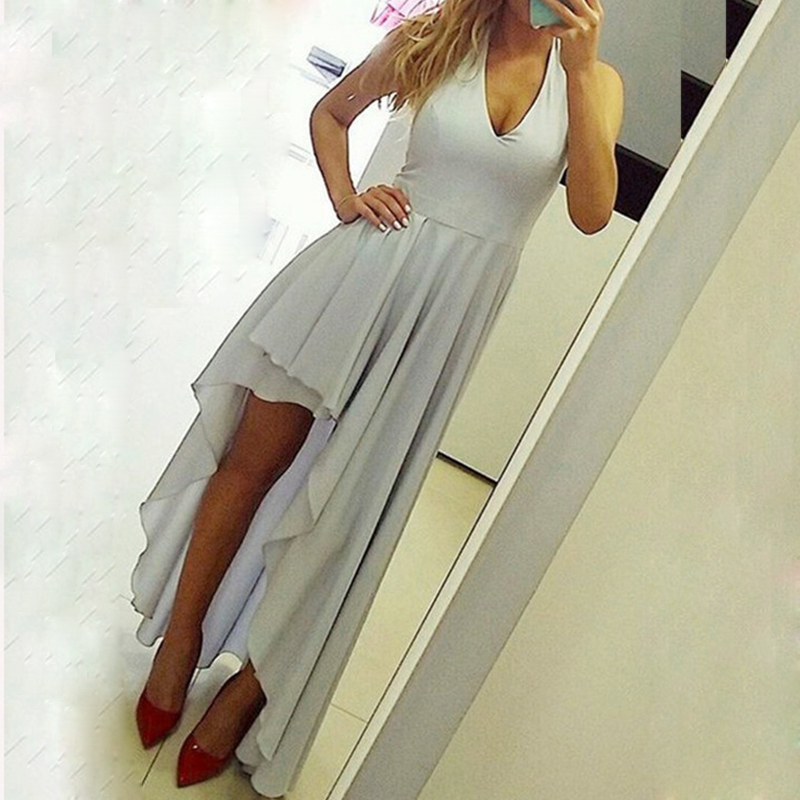 Elegant simple light blue long floor length sleeveless chiffon halter formal prom dresses gowns(China)