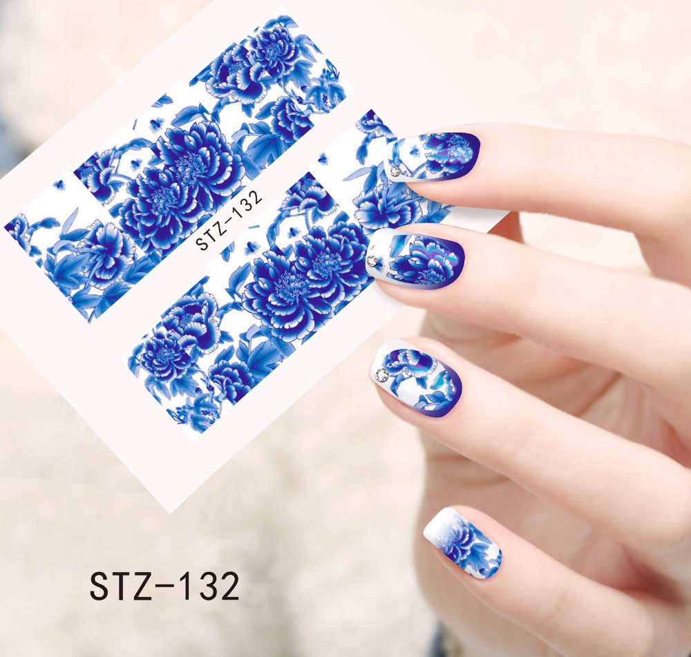 1pc Hot Blooming Flowers Designs Water Transfer Stickers Nail Decals Watermark Decorations Beauty Full Wraps Foils SASTZ132 10 sheets lot charming nail stickers full wraps flowers water transfer nail decals decorations diy watermark manicure tools