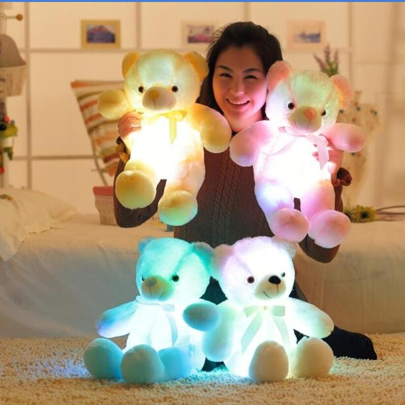 New Arrival 50CM Colorful Glowing Teddy Bear Luminous Plush Toys LED Bear Stuffed Teddy Bear Lovely Gifts for Kids fancytrader new style giant plush stuffed kids toys lovely rubber duck 39 100cm yellow rubber duck free shipping ft90122