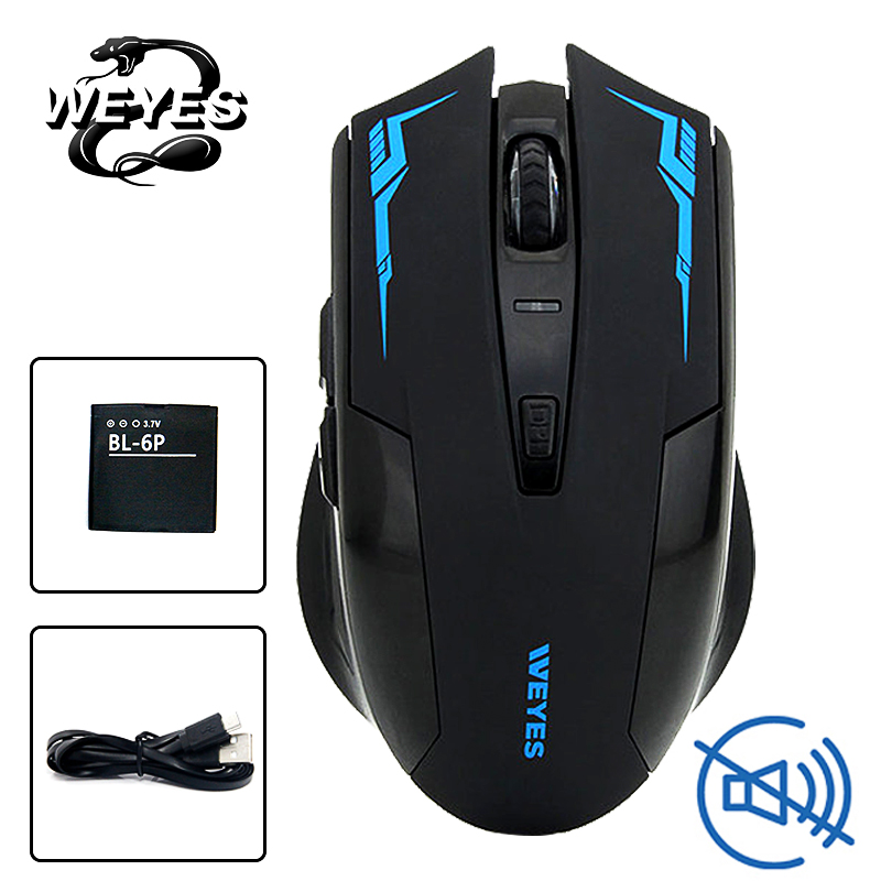 WEYES Charged Silent Wireless Optical Mouse Mute Button Noiseless Gaming Mice 2400dpi Built-in Battery For PC Laptop Computer все цены