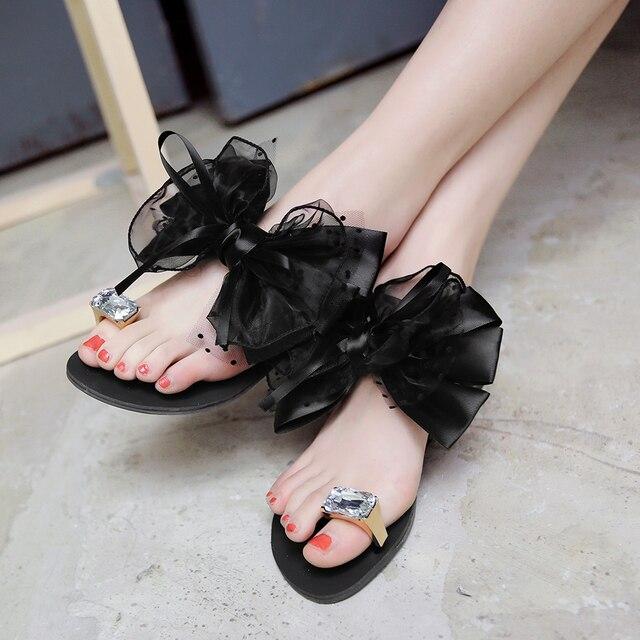 YMECHIC 2018 summer ladys Bowtie flower flat sandals sexy casual fashion female beach flip flops women grey black shoes home