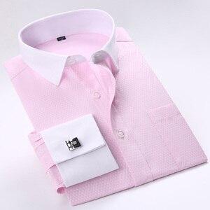 Image 4 - Мужская классическая рубашка под смокинг, формальная деловая рубашка с длинными рукавами и французскими манжетами на пуговицах, свадебная одежда