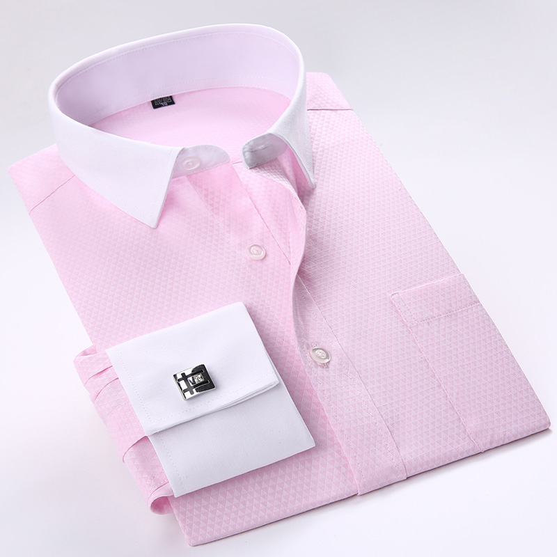 2017 New French Cuff Button Men Dress Shirts