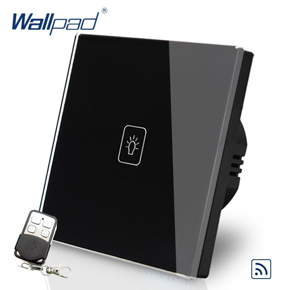 New 1 Gang Double Control Remote Eu European Switch 110V-240V Wallpad Black Crystal Glass LED 1 Gang 2 Way Remote Touch Switch dc24v remote control switch system1receiver