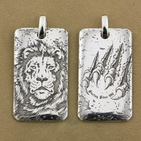 LINSION High Details Deep Laser Engraved 999 Sterling Silver Tiger King Dogtag Sharp Claws Mens Biker