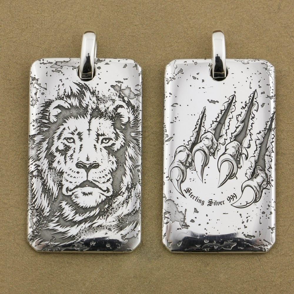 цена на LINSION High Details Deep Laser Engraved 999 Sterling Silver Tiger King Dogtag Sharp Claws Mens Biker Pendant 9X026S
