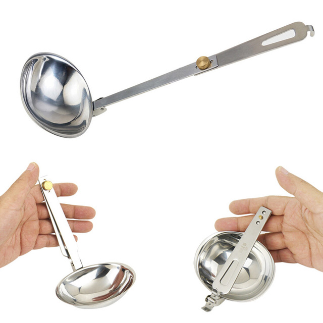 Silver Spoon Outdoor Tableware for Camping Stainless Steel Folding Spoon Foldable Soup Ladle Portable Cooking Utensils