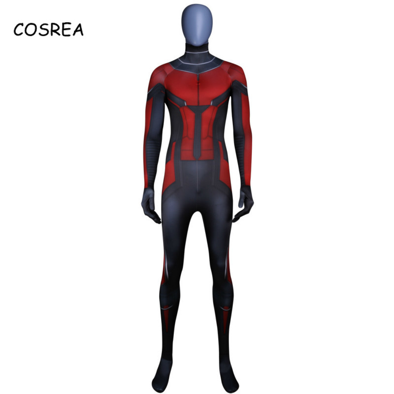 COSREA Scott Lang Ant-Man Cosplay Costume Halloween Costumes The Wasp Cosplay Antman Costume Superhero Spandex Jumpsuit Suit