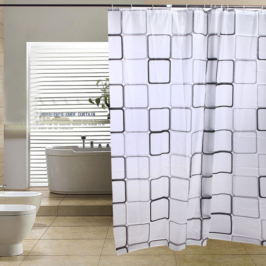 Top sale Waterproof Shower Curtain With Hook Plaid Bathroom Curtains Bath Bathing Sheer For Home Decoration
