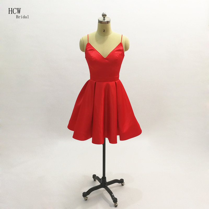 Sexy Little Red   Cocktail     Dresses   2019 High Quality Simple Satin Spaghetti Strap Short   Cocktail   Party Gowns Cheap Women   Dress