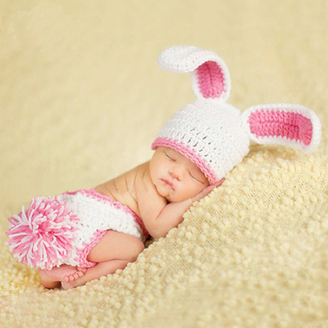 Tiny girl pink rabbit crochet photo shoot outfits newborn baby photography props clothes baby fotografia accessories