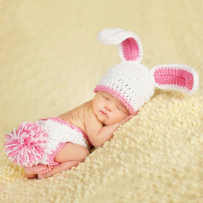 MüHsam Tiny Mädchen Rosa Kaninchen Häkeln Foto Schießen Outfits Newborn Baby Fotografie Requisiten Kleidung Baby Fotografia Zubehör Geburt Geschenk SchüTtelfrost Und Schmerzen