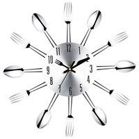 Ze stali nierdzewnej nóż i widelec łyżka kuchnia restauracja zegar ścienny Home Decoration