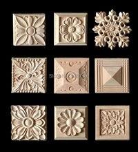 Wood Appliques 5 pcs Wood Carving Frame for Furniture Cabinet Door Bed *Nautical Home Decor Wooden Figurine Flower Pattern Carve