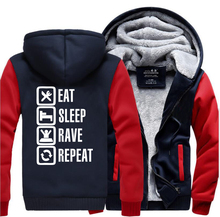 Eat Sleep Rave Repeat Game Fuuny Mens Hooded 2019 Winter Fleece Sweatshirts Men  Casual Hoodies Thicken Jacket Tracksuit