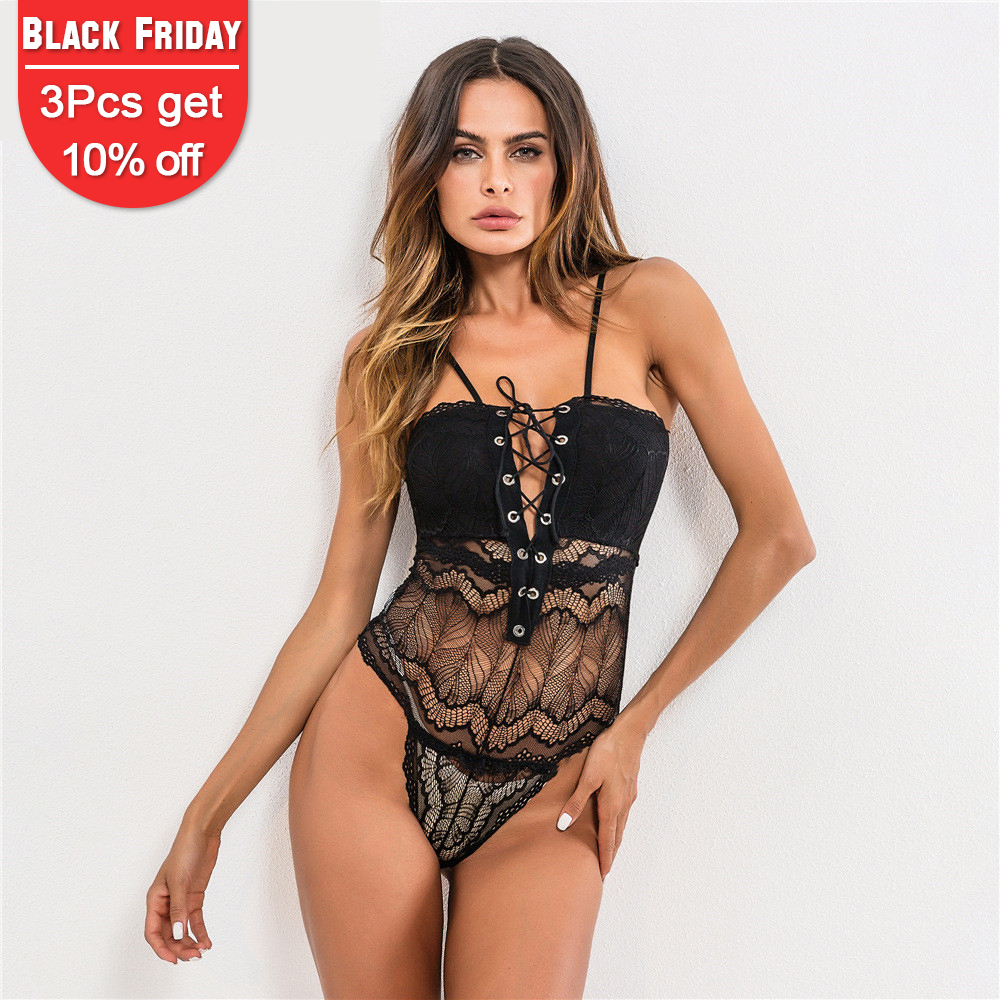 Men's Sleep & Lounge Klv 2018 New Fashion Womens Plus Size Cross Spaghetti Bodysuit Sheer Floral Lace Crotchless Lingerie High Quality