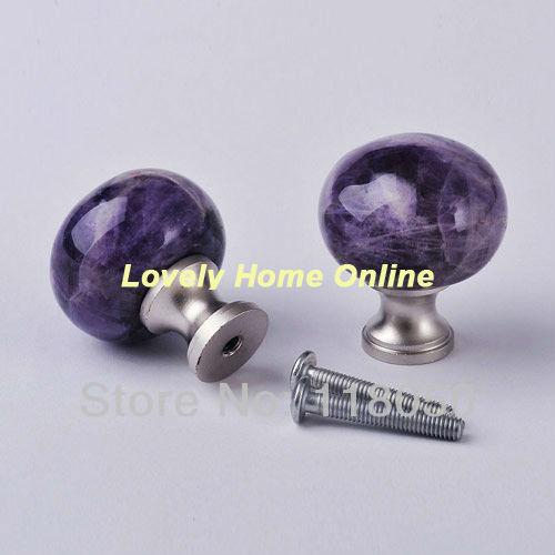 Lamp Finial-Natural Purple//Amethyst Agate-Brass Base