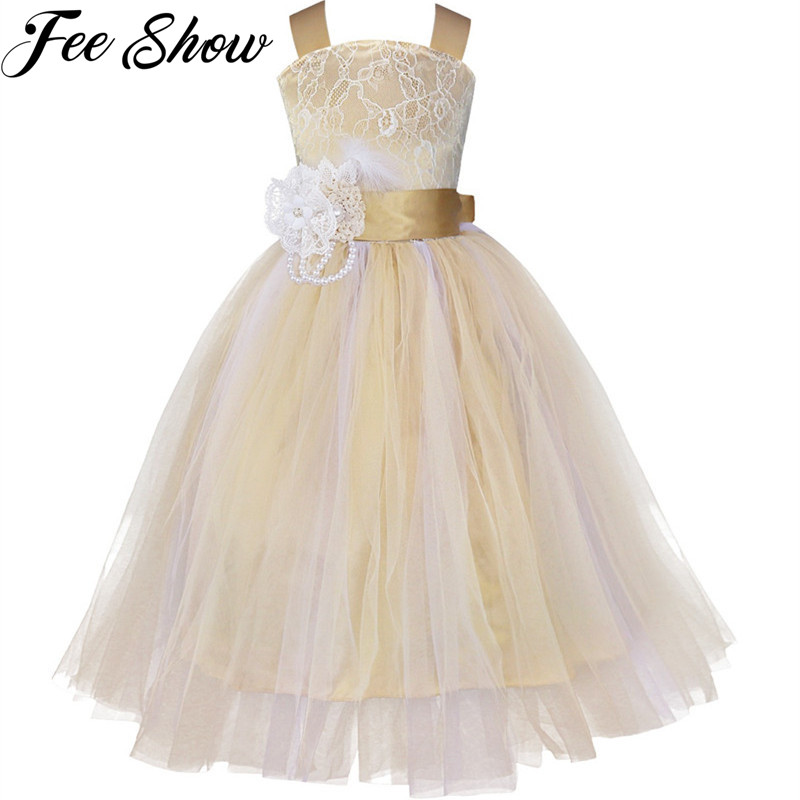 Girl Lace Flower Princess Tutu Tulle Party Long Dress for Kid Wedding Bridesmaid