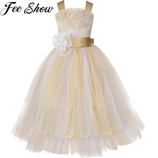 c0b686124354f US $15.99 30% OFF|Princess Tutu Tulle Lace Flower Girl Dress Kids Party  Pageant Bridesmaid Wedding Dress Champagne Pink Gown Dress Robe Enfant-in  ...