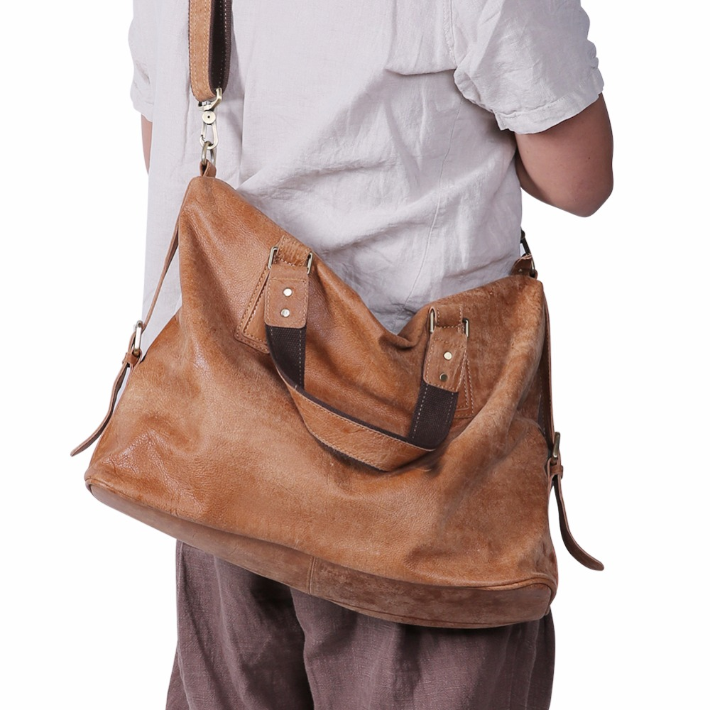JOYIR Genuine Leather Shoulder Bags for Men Nubuck Vintage Handbag Large Retro Crossbody Mens Bags Casual Totes Messenger Bag