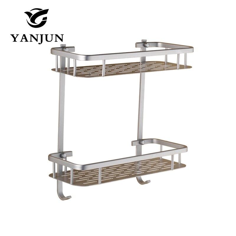 Yanjun Aluminum Square Bathroom Shelves Quartet toilet wall bracket Belt hook with hook Bathroom Accessories YJ 8501