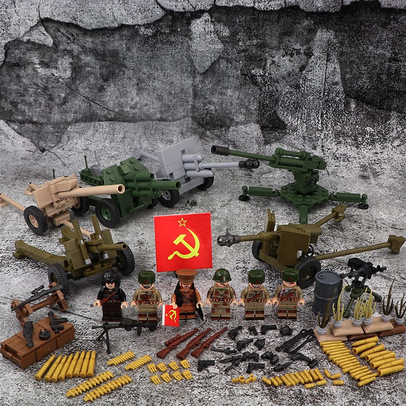 WW2 Soviet Soldiers Army Military Gun Weapons City Police Parts Playmobil Mini Figures Building Block Brick Original Toys