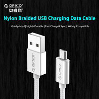 ORICO USB Data Charger Cable Nylon Braided Wire Metal Plug Micro USB Cable for Xiaomi Samsung Sony HTC 1 Meter Silver