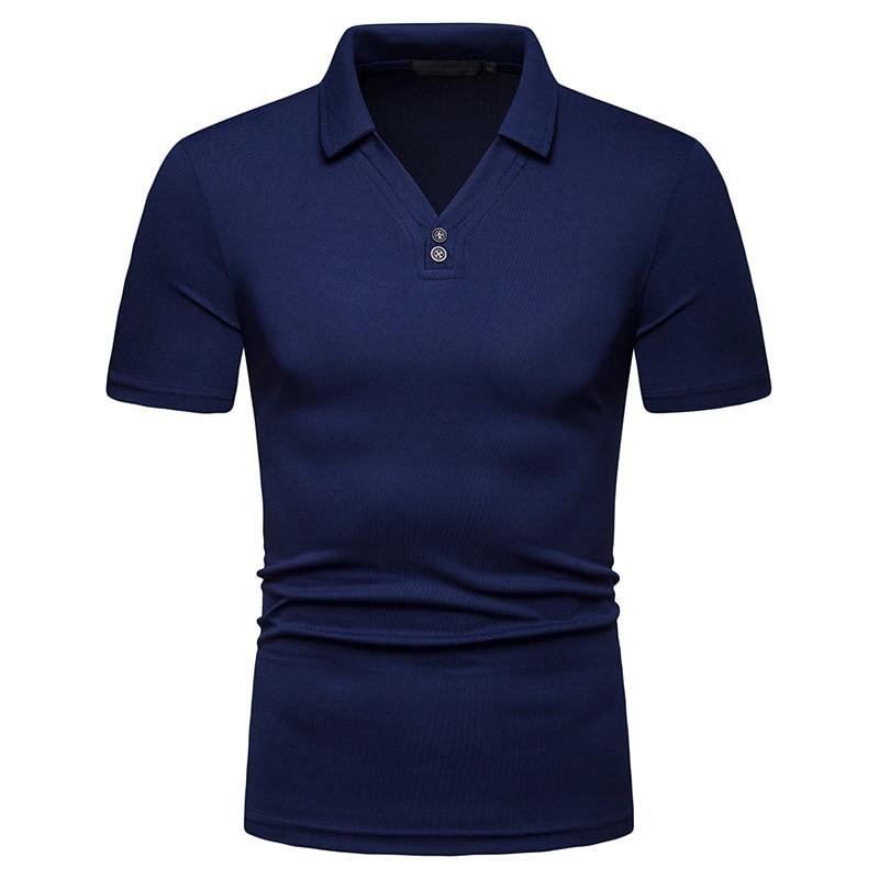 Drop Shipping New Arrive Solid   Polo   Men Slim Fit V-Neck Short Sleeve   Polo   Shirt Men Fashion Streetwear