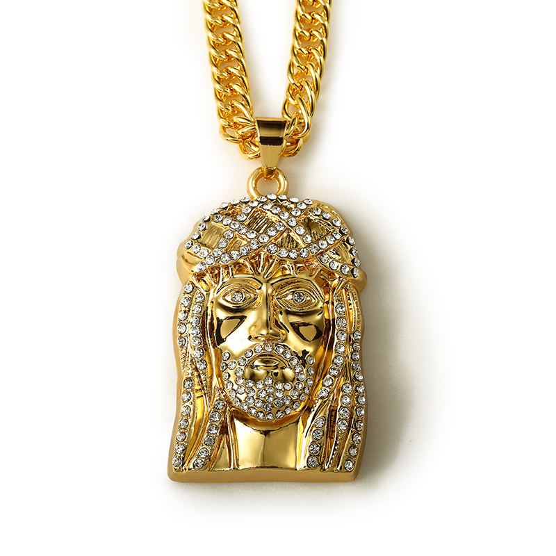 New hot golden iced out bling rhinestone jesus head piece charm hip new hot golden iced out bling rhinestone jesus head piece charm hip hop mens jewelry pendant snake chain necklaces in pendant necklaces from jewelry aloadofball Gallery