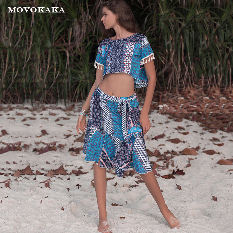 Spring Summer Fashion Women's <font><b>Sets</b></font> Beach Casual <font><b>Skirt</b></font> Womens <font><b>Sets</b></font> Two Piece <font><b>Skirt</b></font> And <font><b>Top</b></font> <font><b>Tassel</b></font> Chiffon Shirt 2 Piece <font><b>Set</b></font> Women image