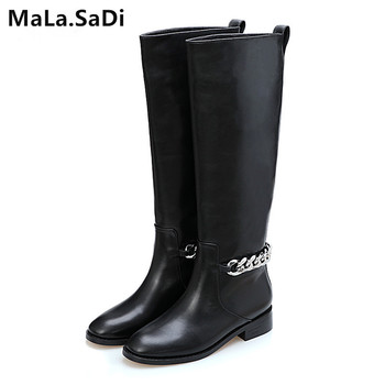 Newest Real Leather Black Motorcycle Boots Woman Round Toe Silver Chain Knee High Boots Women Fashion Shoes zapatos mujer 35-41