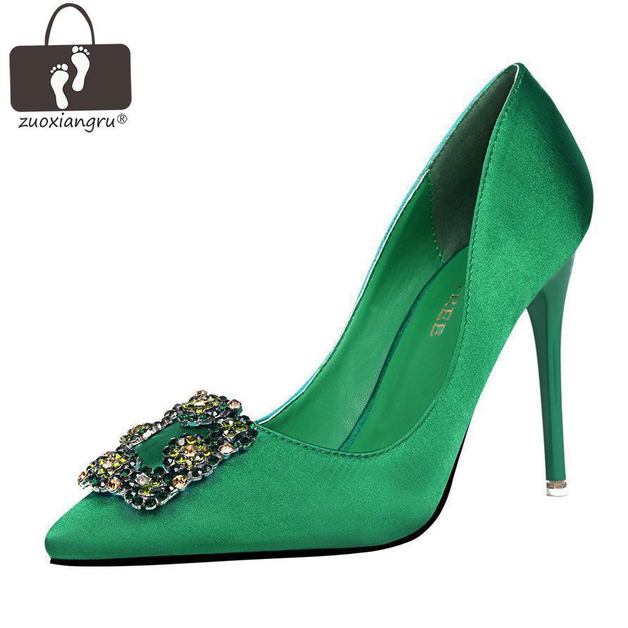 Zuoxiangru 10cm Women's High Thin Heel Pumps Fashion Green Crystal Designer Silk Women Heels Woman Pointed Toe Wedding Shoes