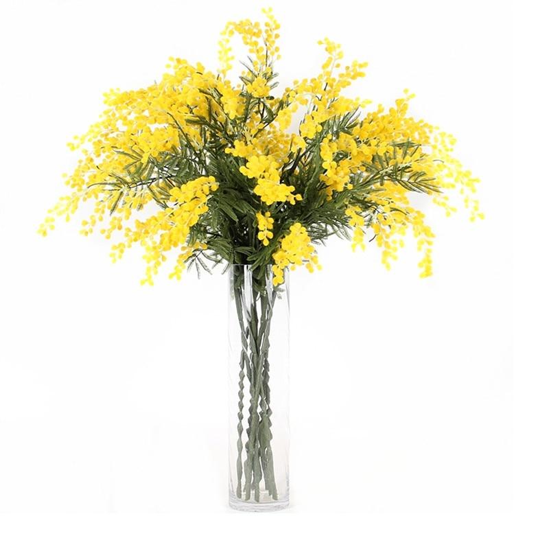 INDIGO- 9PCS Australia Acacia Yellow Yellow Mimosa Pudica Spray Silk - Furnizimet e partisë - Foto 2