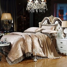 2017 Luxury Embroidery Satin Silk Jacquard Bedding Sets golden pink bedsheet Cotton Queen King size 4