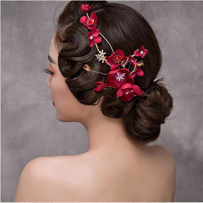 Us 14 35 8 Off Pakistanische Braut Frisuren Gold Verlasst Schmetterling Hochzeit Haarschmuck Rote Blume Braut Perle Kopfschmuck Party Kopf Schmuck