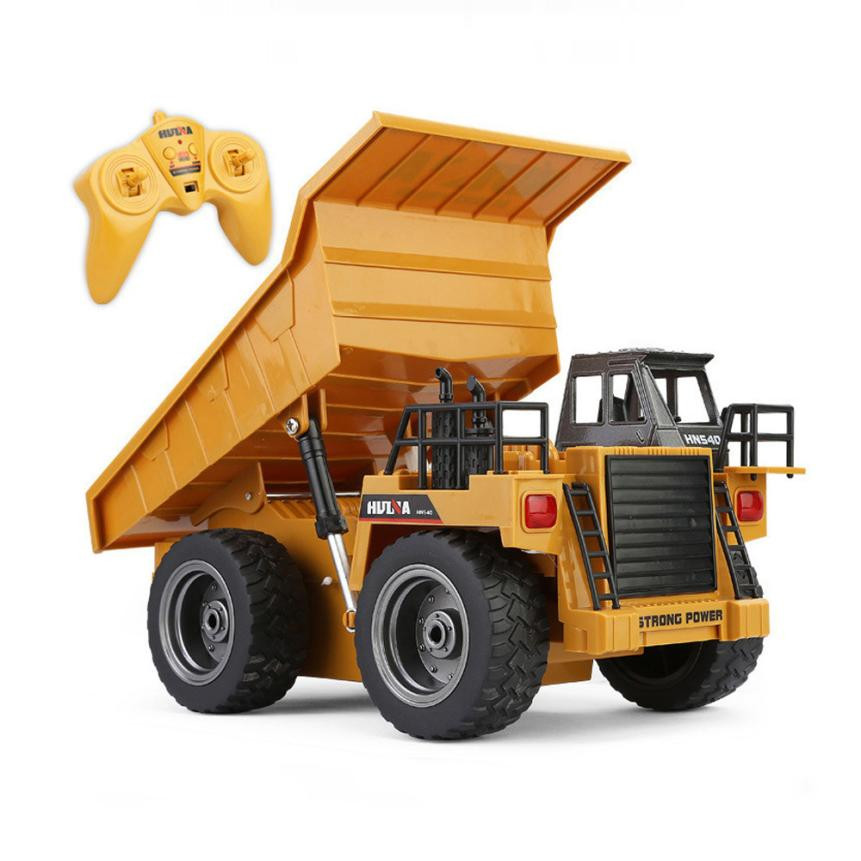 MUQGEW Childrens Toys 2.4G Alloy Vehicle Model 1/18 RC Dump Truck Charging RC Car with Light Kids Toy Educational Toys Gift