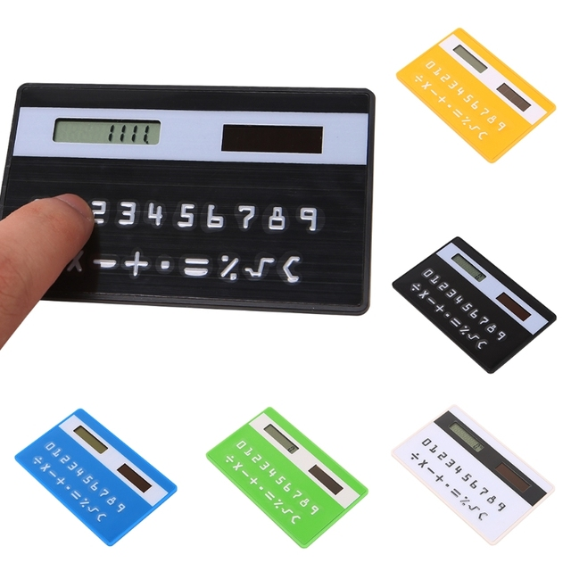 Ultra Slim Calculator Mini Pocket Calculator Credit Card Sized Solar