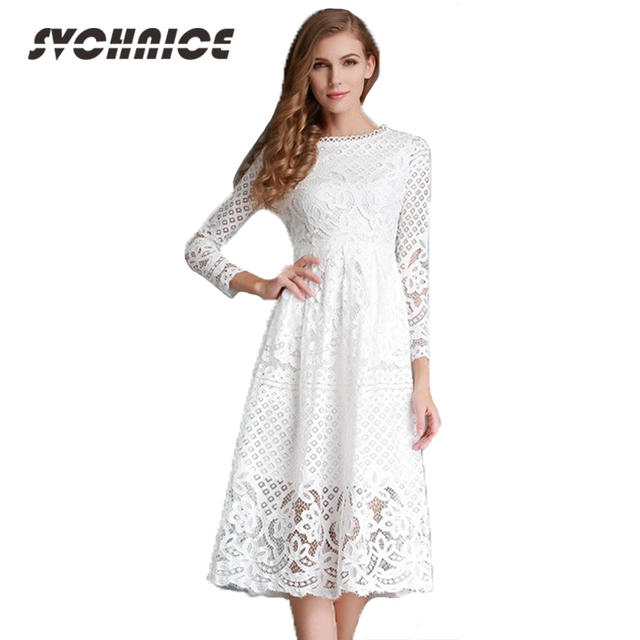 New 2017 Ladies Plus Size Hollow Black/White Lace Dress Elegant ...